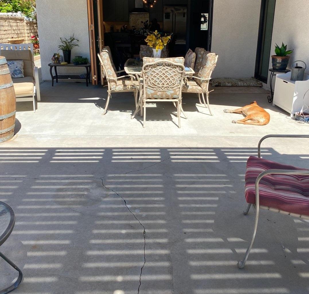 cracked, chipped patio in santa clarita