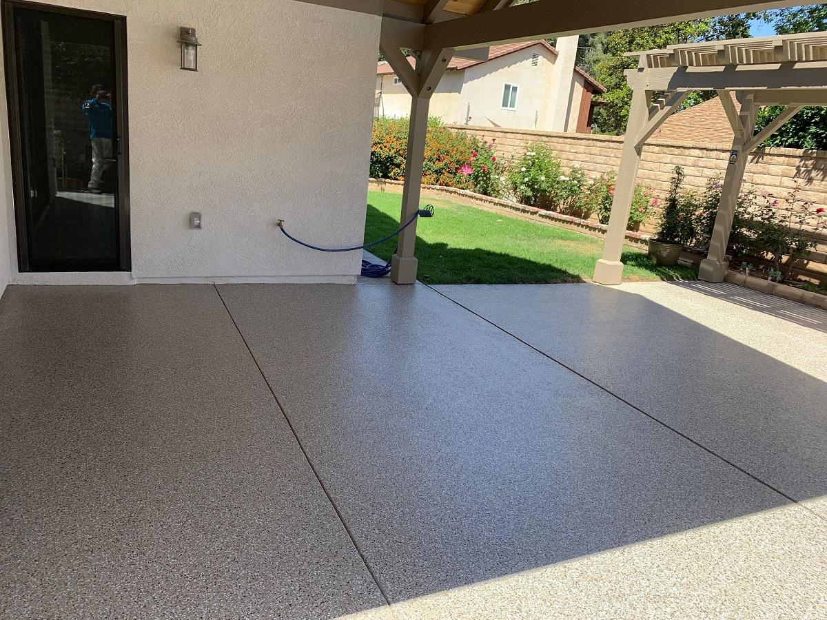 freshly polyurea coated patio in santa clarita